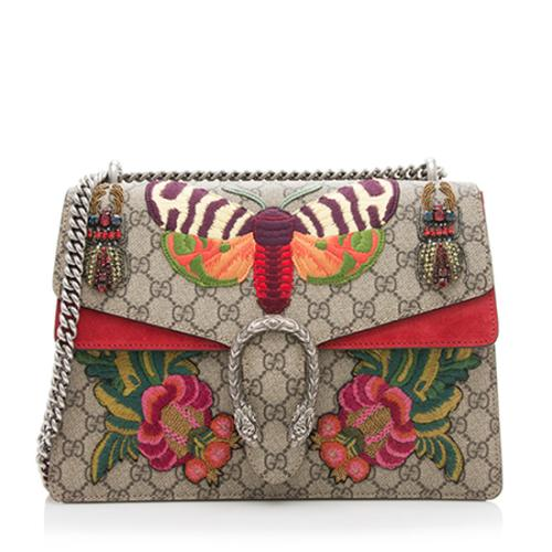 Gucci GG Supreme Embroidered Dionysus Medium Shoulder Bag