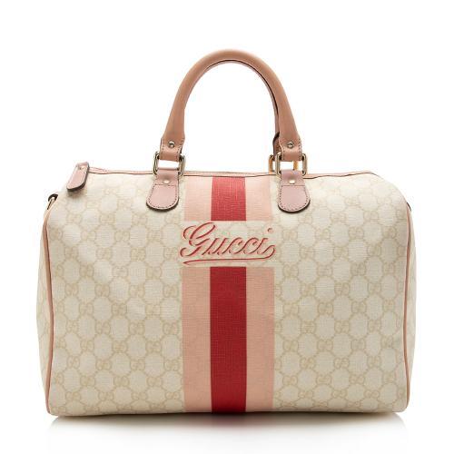 Gucci GG Supreme Joy Vintage Web Boston Satchel
