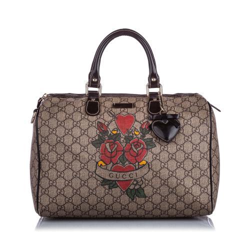 Gucci GG Supreme Tattoo Boston Bag