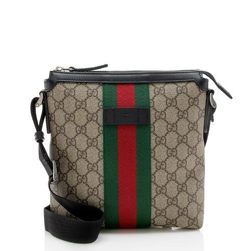 Gucci GG Supreme Web Flat Messenger Bag