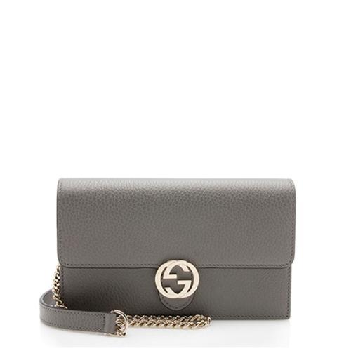Gucci Grained Calfskin Interlocking G Chain Wallet