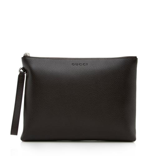 Gucci Grained Calfskin Zip Clutch