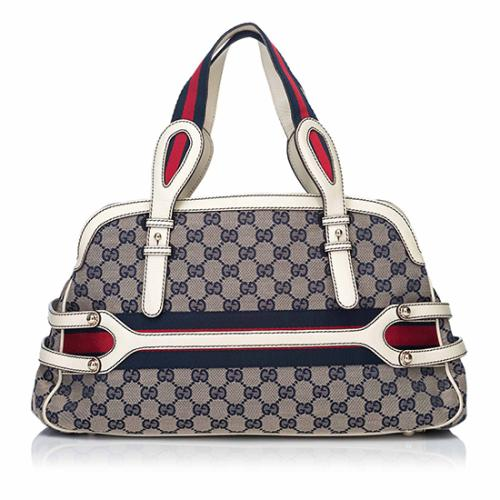 Gucci GG Canvas Leather Web Shoulder Bag