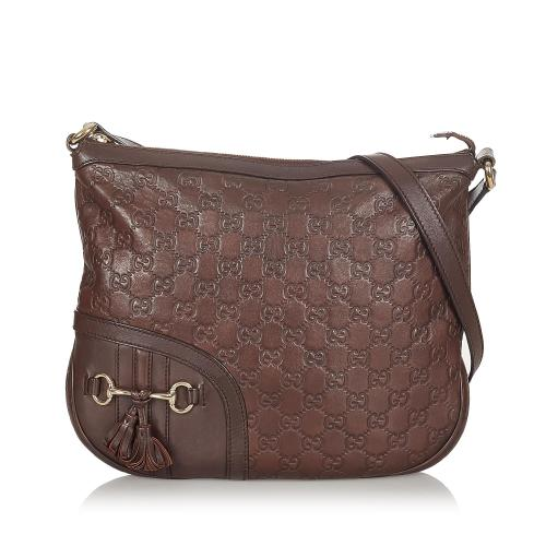 Gucci Guccissima Horsebit Leather Crossbody Bag