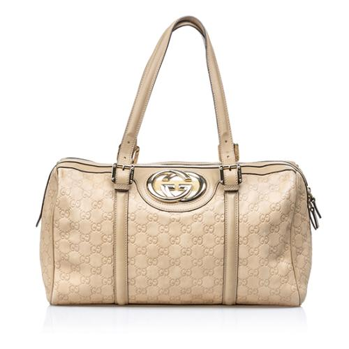 Gucci Guccissima Leather Britt Medium Boston Satchel