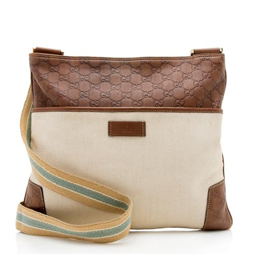 Gucci Guccissima Leather Canvas Messenger Bag