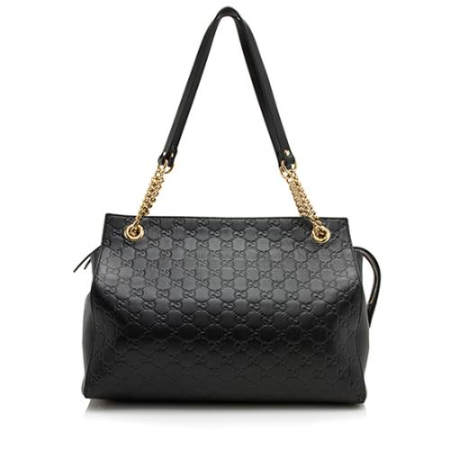 Gucci Guccissima Leather Chain Large Shoulder Bag