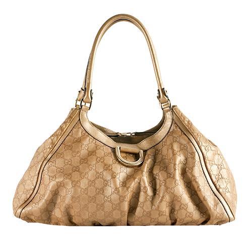 Gucci Guccissima Leather D Gold Shoulder Handbag