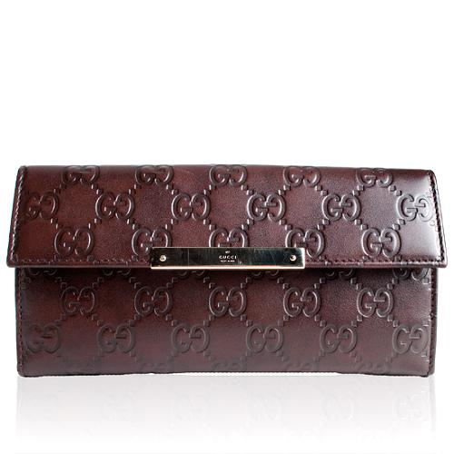Gucci Guccissima Leather Engraved Script Continental Wallet