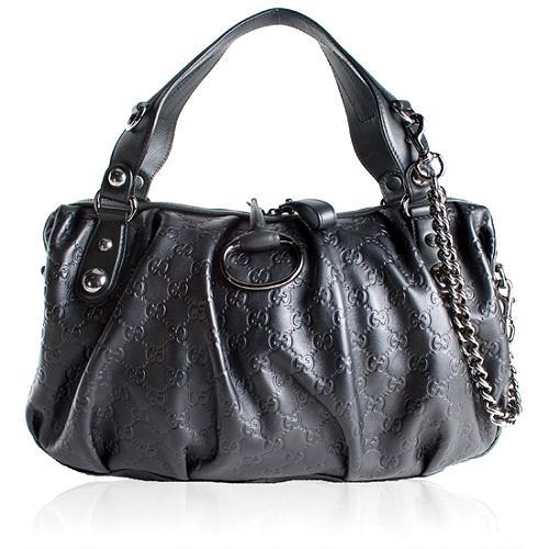 Gucci Guccissima Leather Icon Bit Medium Boston Handbag