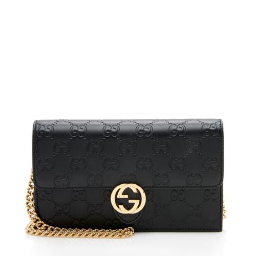 Gucci Guccissima Leather Icon Chain Wallet