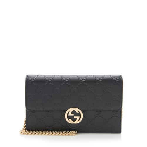 Gucci Guccissima Leather Interlocking G Chain Wallet