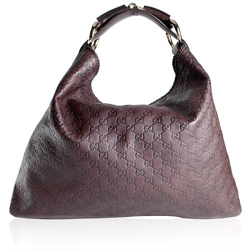 Gucci Guccissima Leather Large Horsebit Hobo Handbag