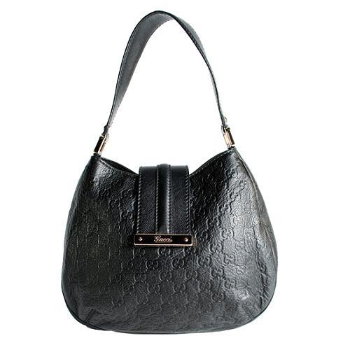 Gucci Guccissima Leather New Las Web Medium Hobo Handbag