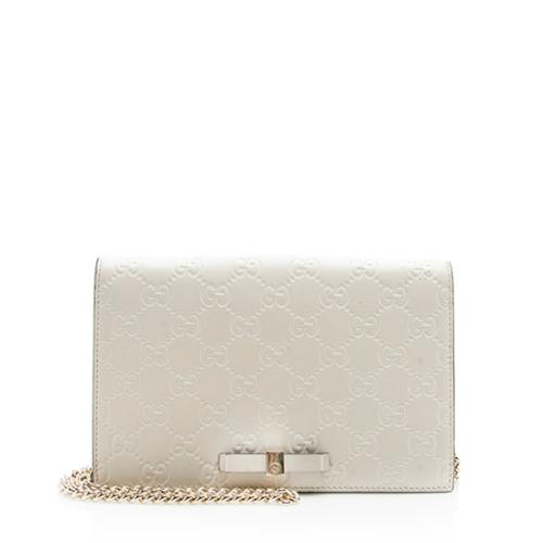 Gucci Guccissima Leather Signature Bow Mini Wallet On Chain Bag