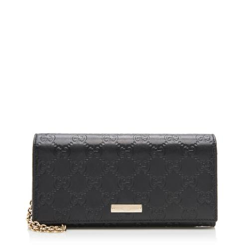 Gucci Guccissima Leather Wallet on Chain Clutch