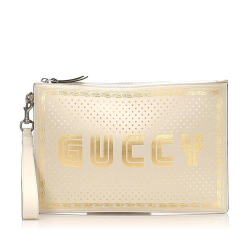 Gucci Guccy Sega Leather Clutch Bag