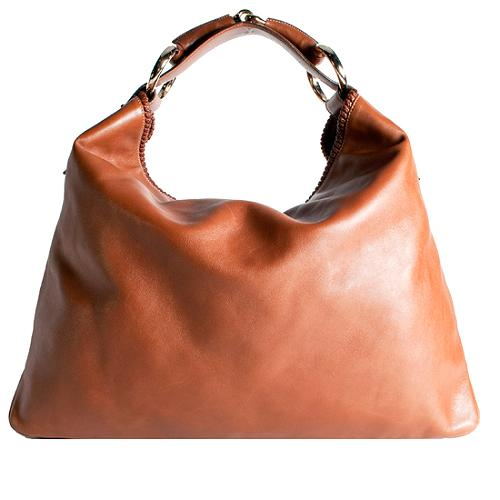 Gucci Horsebit Leather Large Hobo Handbag