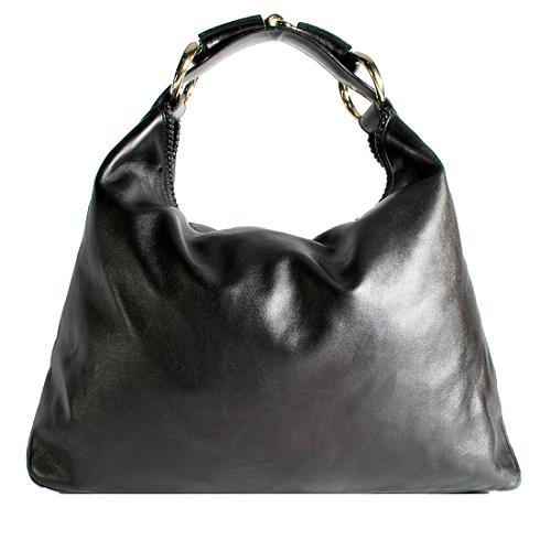 Gucci Horsebit Leather Large Hobo Handbag