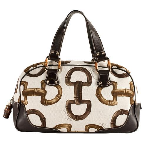 Gucci Horsebit Print Canvas Satchel Handbag