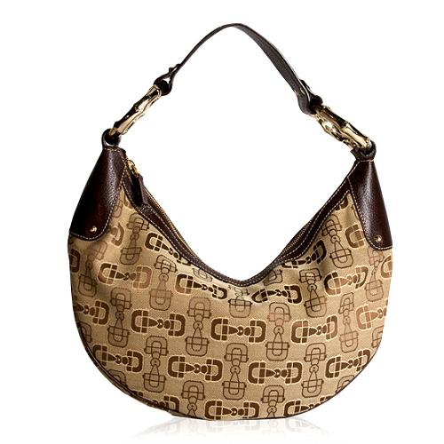 Gucci Horsebit Print Fabric Hobo Handbag