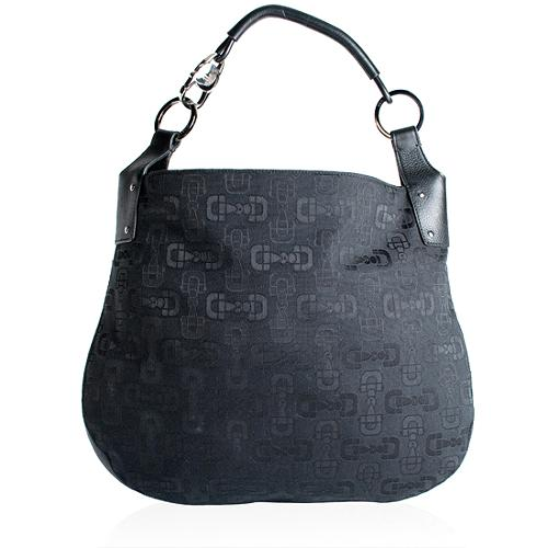 Gucci Horsebit Print Fabric Hobo Handbag