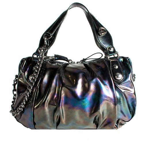 Gucci Iridescent Patent Icon Bit Medium Boston Satchel Handbag
