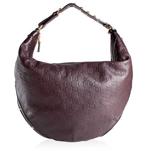Gucci Large Chocolate Guccisima Hobo Handbag