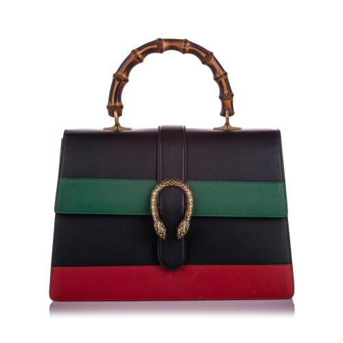 Gucci Leather Large Dionysus Bamboo Top Handle Satchel