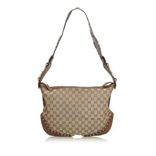 Gucci Large GG Canvas Pelham Studded Hobo