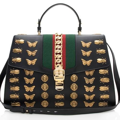 Gucci Leather Animal Studs Sylvie Large Shoulder Bag