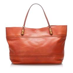 Gucci Leather Bamboo Crafty Tote