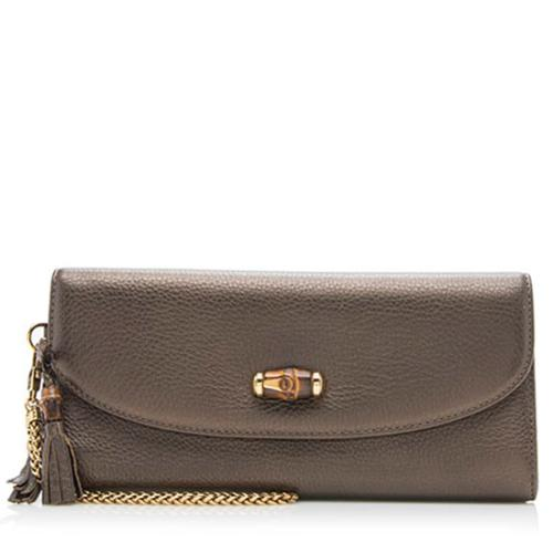 Gucci Leather Bamboo Night Chain Clutch