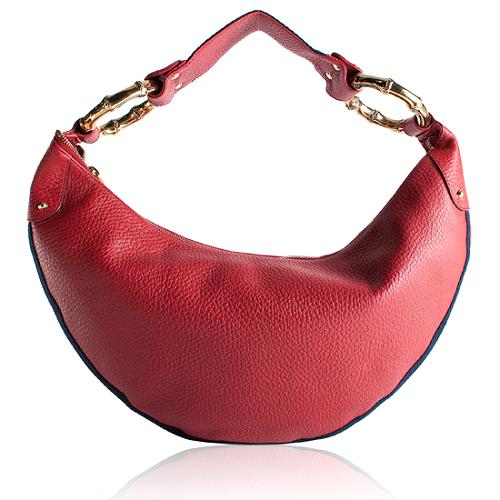 Gucci Leather Bamboo Ring Medium Hobo Handbag