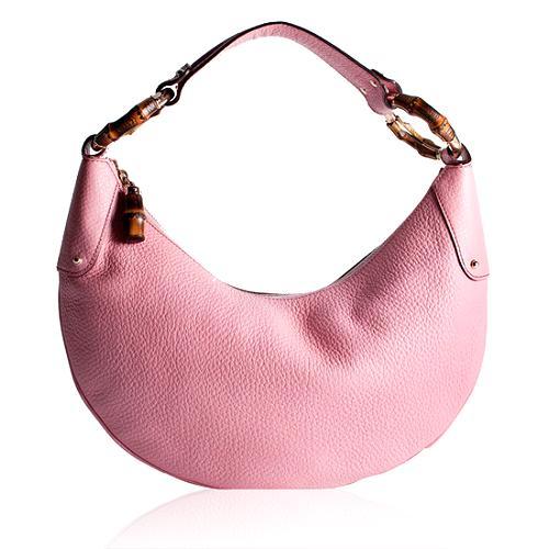 Gucci Leather Bamboo Ring Medium Hobo Handbag