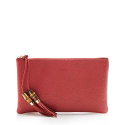 Gucci Leather Bamboo Tassel Zip Clutch