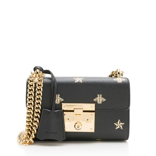 Gucci Leather Bee & Star Padlock Mini Shoulder Bag