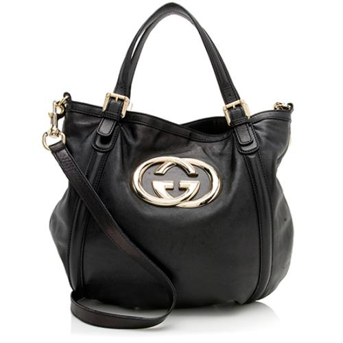 Gucci Leather Britt Convertible Tote