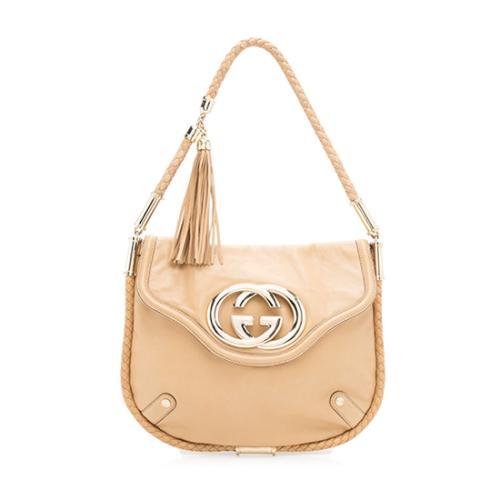 Gucci Leather Britt Flap Tassel Shoulder Bag