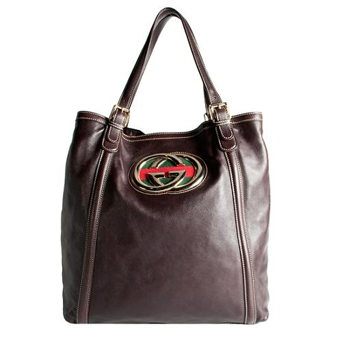 Gucci Leather Britt Large Tote