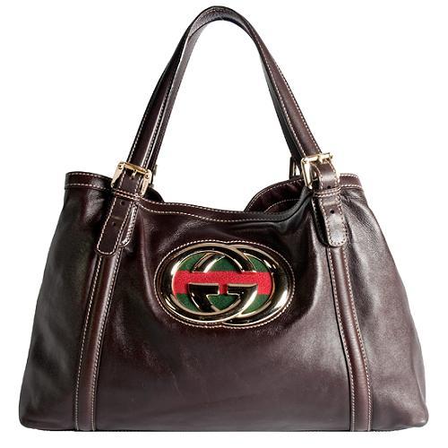 Gucci Leather Britt Medium Tote