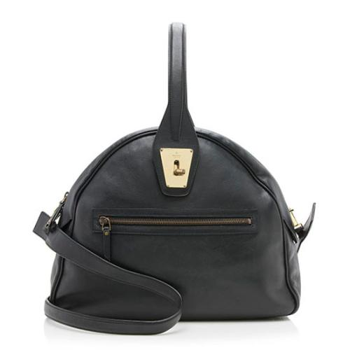 Gucci Leather Dome Turnlock Satchel