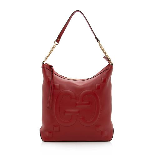 Gucci Leather Embossed GG Hobo