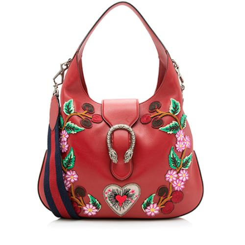 Gucci Leather Embroidered Dionysus Medium Hobo