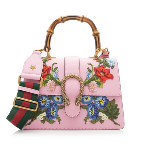 Gucci Leather Embroidered Dionysus Medium Top Handle Bag