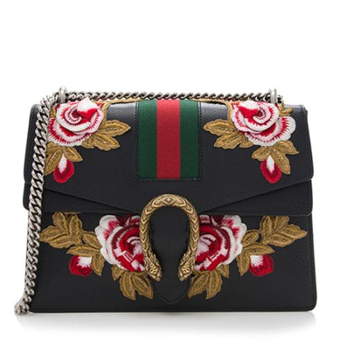 Gucci Leather Embroidered Rose Dionysus Medium Shoulder Bag