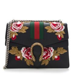 Gucci Leather Embroidered Rose Dionysus Medium Shoulder Bag