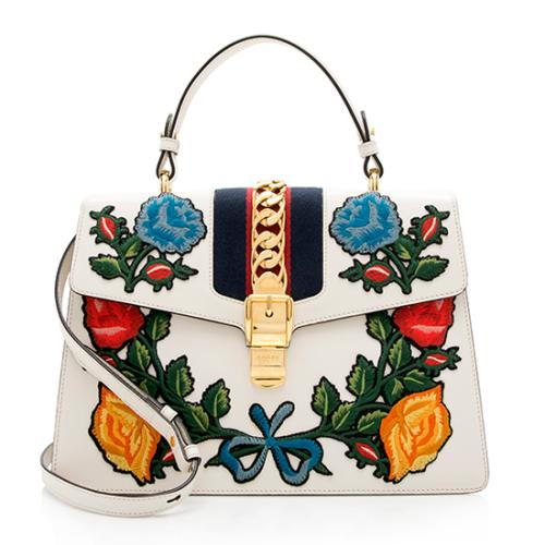 Gucci Leather Floral Sylvie Medium Top Handle Satchel
