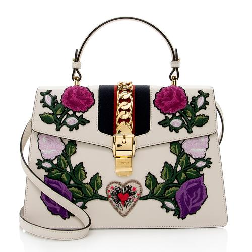 Gucci Leather Floral Sylvie Top Handle Medium Satchel