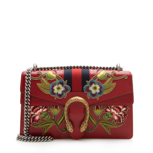 Gucci Leather Floral Web Dionysus Small Shoulder Bag